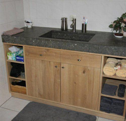 Badkamermeubel Hout Natuursteen : Hardstenen wastafels de jong ...
